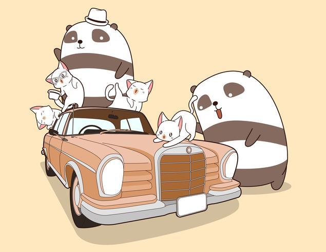 Pandas Kawaii y gatos con coche de época. vector