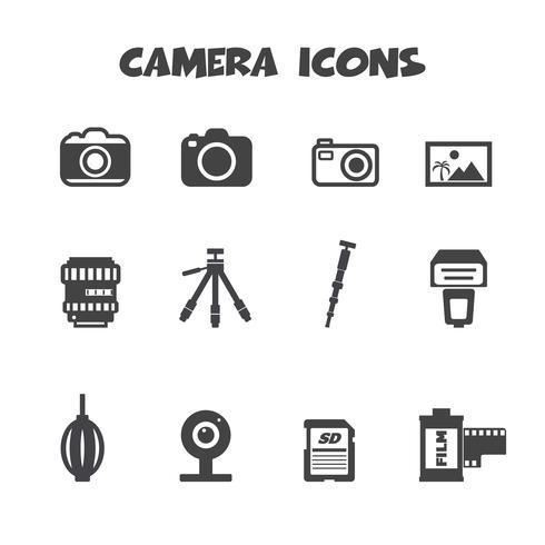 simbolo di icone della fotocamera vettore