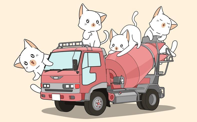 Cute cats on cement mixer truck vector