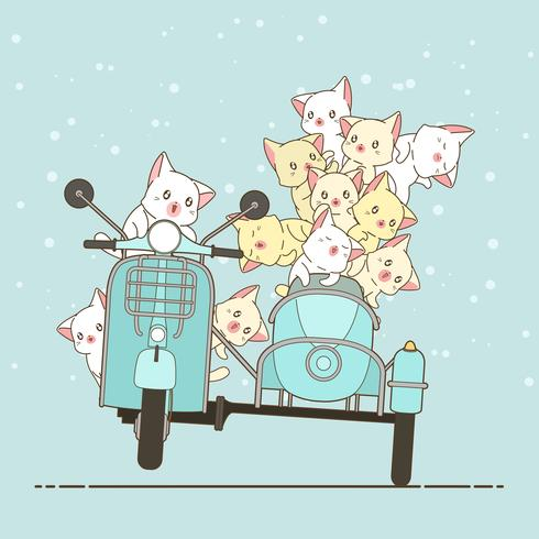 Dibujado kawaii jinete gato y amigos con moto. vector