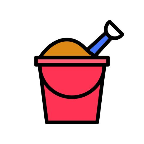 Sand bucket vector, tropical related filled style icon vector