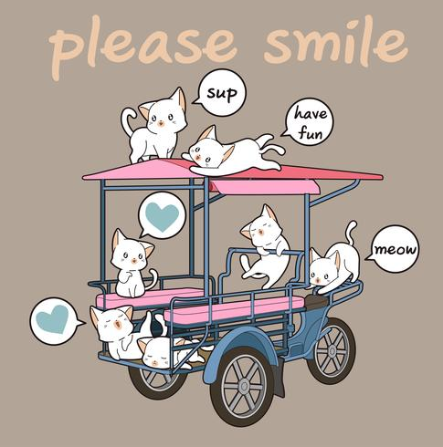 Kawaii cats and freight vehicle vector