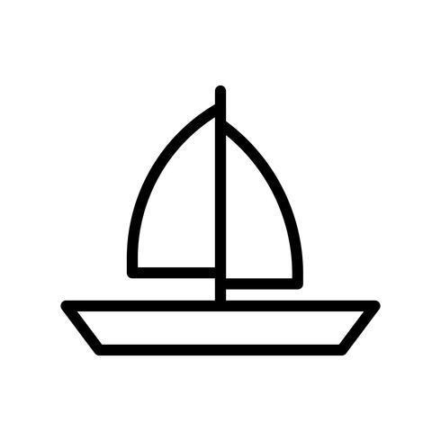 Vetor de barco a vela, ícone de estilo de linha tropical relacionados