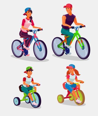 Set di illustrazione vettoriale adulti e bambini in sella a biciclette