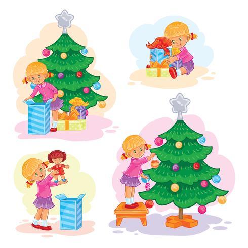 Ensemble d'icônes petite fille ouvrant des cadeaux de Noël
