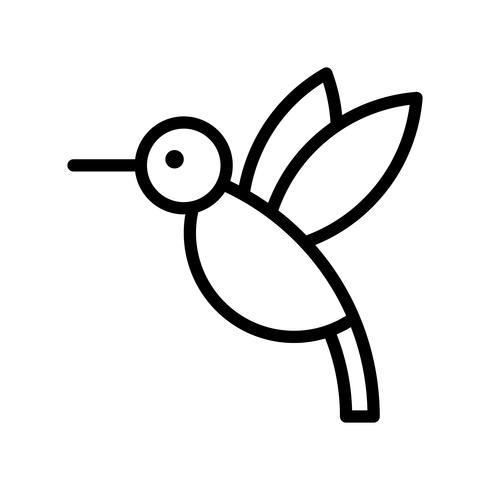 Vecteur de colibri, icône de style de ligne connexe tropical