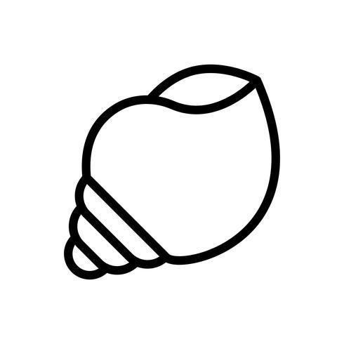 Vetor de concha, ícone de estilo de linha tropical relacionados