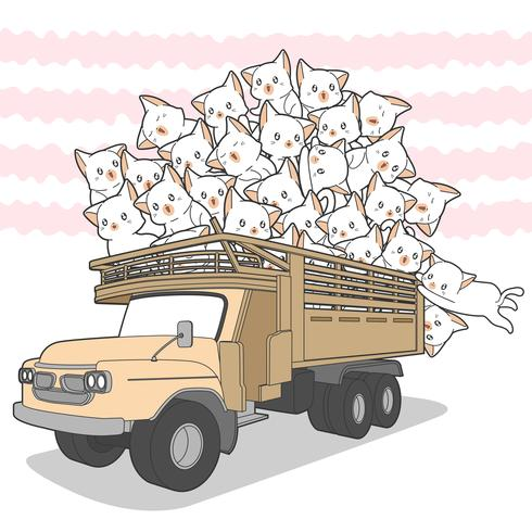 dragit kawaii katter på lastbil.