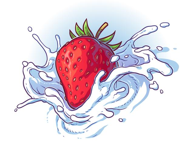 Delicious fresh strawberry falling into cream or milk.