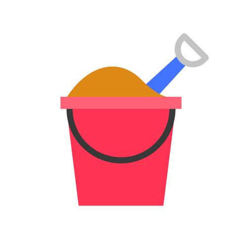 Sand bucket vector, tropical related flat style icon