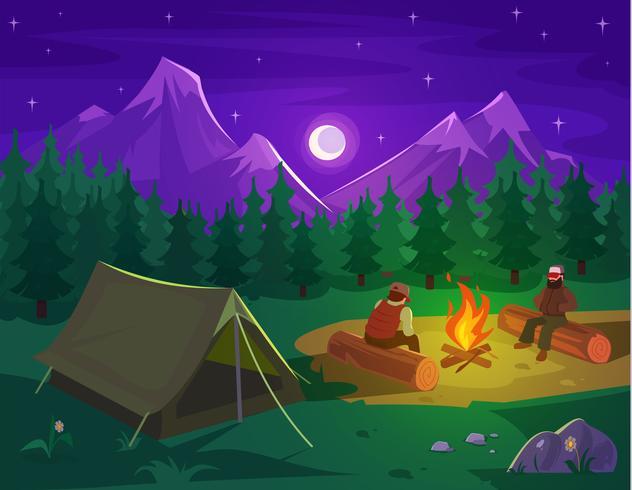 Vetorial, ilustração, de, um, paisagem montanha