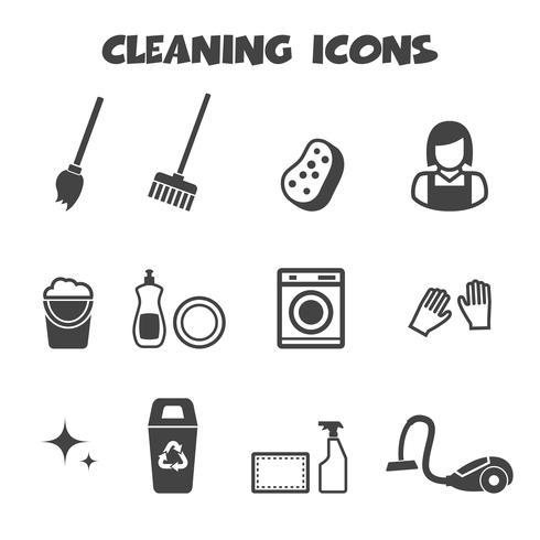 symbole d'icônes de nettoyage vecteur