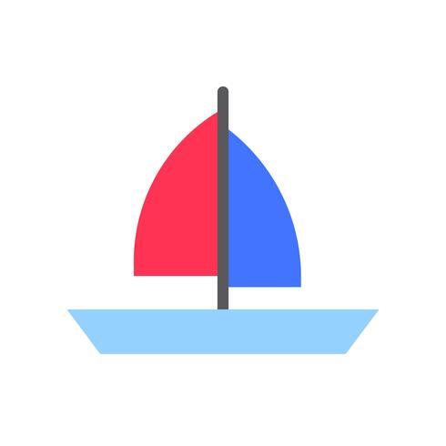 Segelbåtvektor, tropisk relaterad platt stilikon