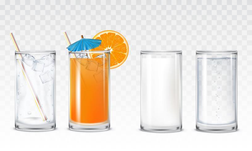 Stellen Sie Ikonengläser mit Wasser, Saft und Milch ein