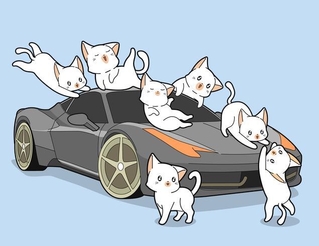 Kawaii cats and auto car. vector