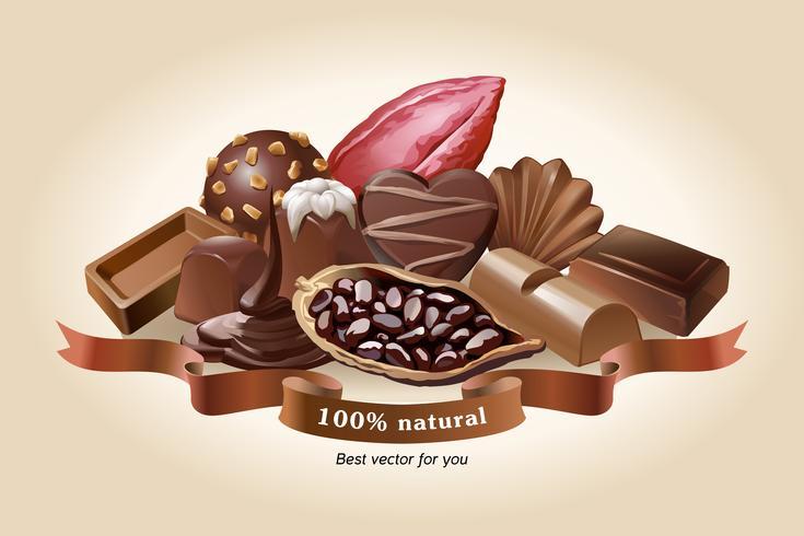Vetorial, ilustração, de, chocolate, doces