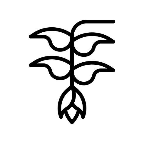 Vecteur de fleur Heliconia, icône de style de ligne connexe tropical