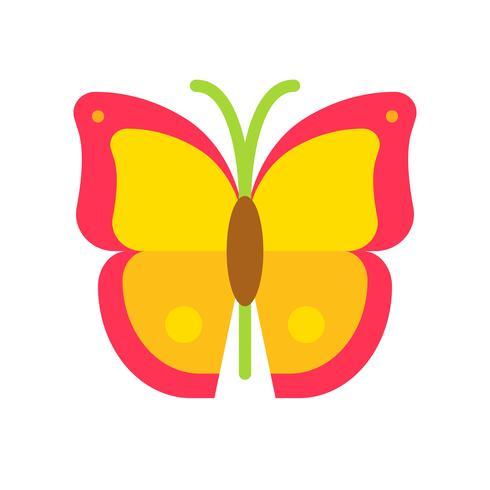 Vecteur de papillon, icône de style plat connexe tropical