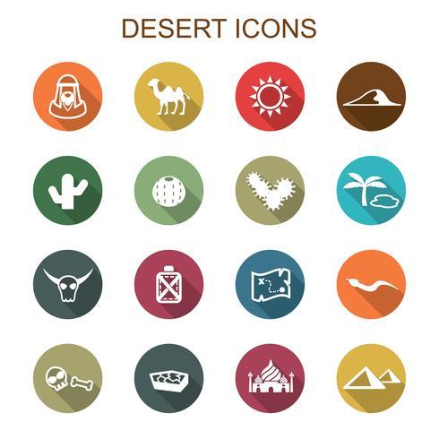ícones de longa sombra de deserto