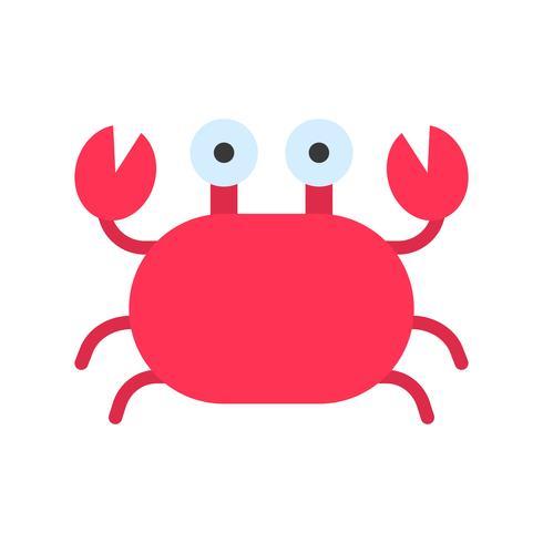 Vecteur de crabe, icône de style plat connexe tropical