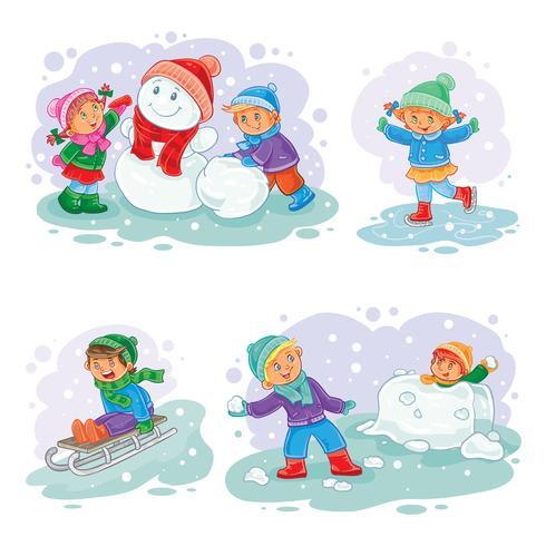 Définir des icônes de vecteur d'hiver avec petits enfants
