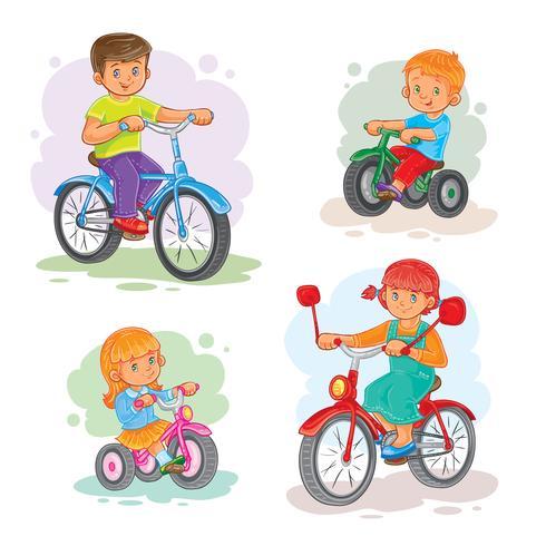 Set van vector iconen kleine kinderen op fietsen