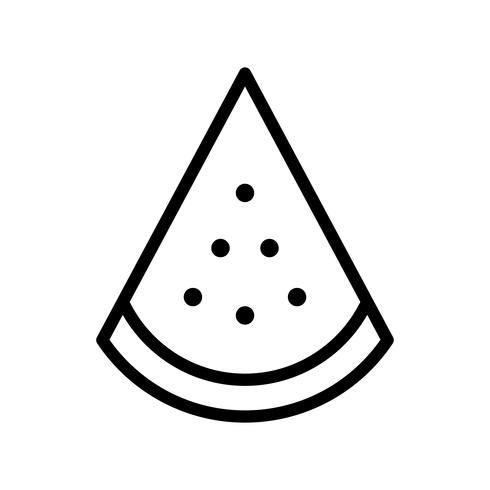 Vecteur de tranche de pastèque, icône de style de ligne connexe tropical