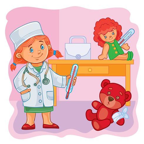 Doutor menina pequena trata seus brinquedos