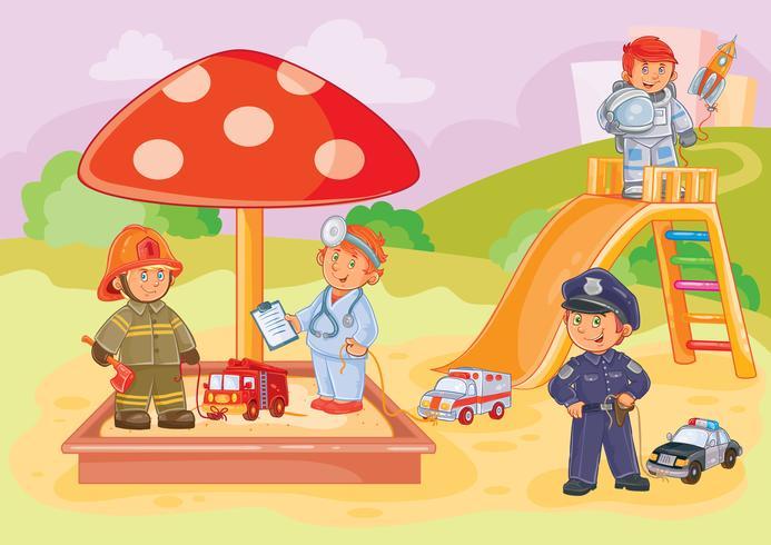 Illustrazione vettoriale piccoli bambini diverse professioni che giocano nel parco giochi
