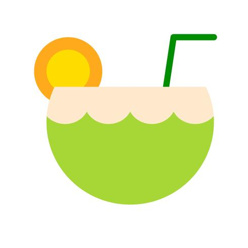 Coconut juice vector, tropical related flat style icon
