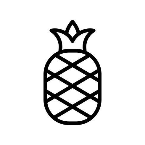 Vecteur d'ananas, icône de style ligne connexe tropical