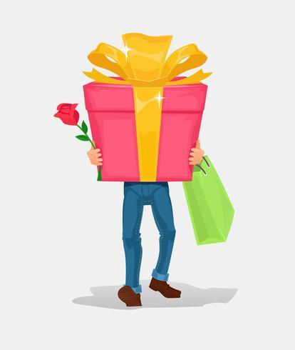 Mannen bär en kartonglåda gåva