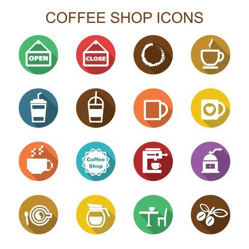 Cafetería larga sombra iconos