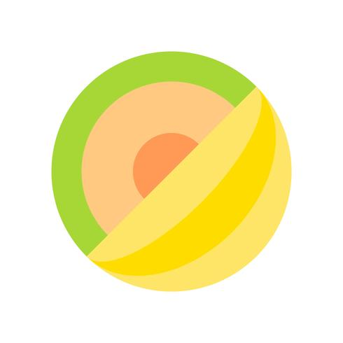 Vector de melón, icono de estilo plano relacionado tropical