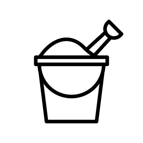 Sand bucket vector, tropical related line style icon