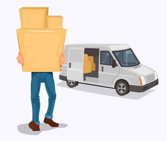 De man draagt een kartonnen doos