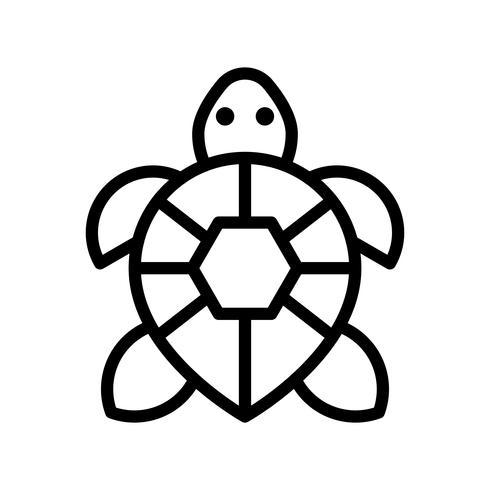 Vecteur de tortue, icône de style de ligne connexe tropical