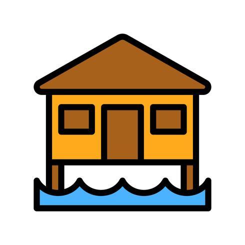 Vecteur de bungalow, icône de style rempli connexe tropical