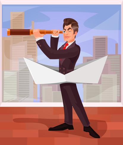 Zakenman baas leidt zijn bedrijf naar verschillende gevaren