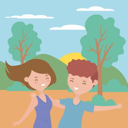 Teenager boy and girl cartoons design