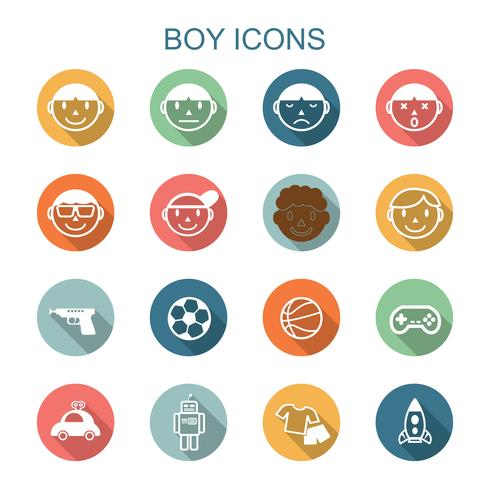 ícones de longa sombra de menino