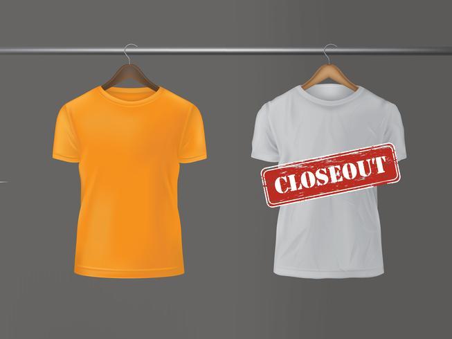 T-shirts som hänger på hängare.
