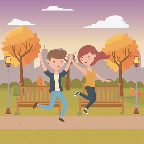 Progettazione di cartoni animati di ragazzo e ragazza adolescente