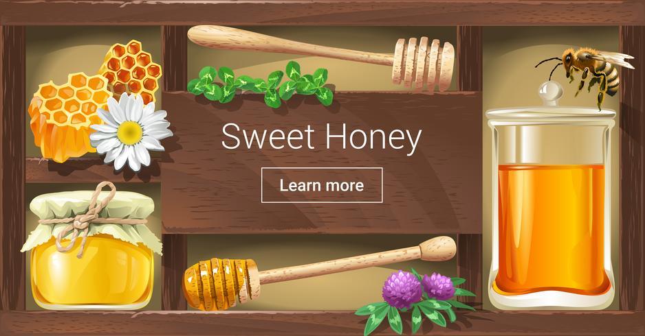 Illustrazione vettoriale di una cremagliera di legno con miele