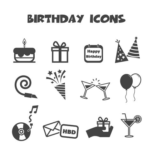 símbolo de ícones de aniversário vetor