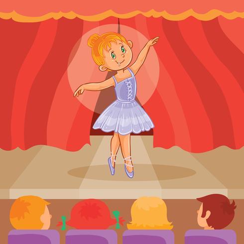 Ballerina des kleinen Mädchens, die eine Darstellung gibt