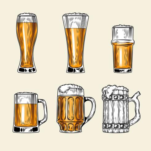 Set van vector iconen vol glas bier