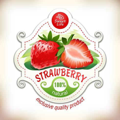 Vektorillustration einer Erdbeere mit Blättern
