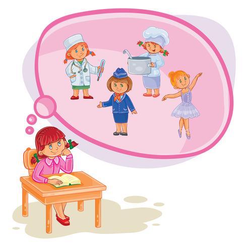 Vector illustration of a little girl dreaming