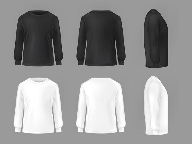 Modelo de conjunto de vetor de t-shirts masculinas com manga longa